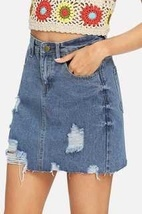 Raw Hem Ripped Denim Юбки